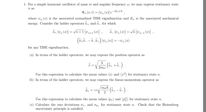 solved 1 for a simple harmonic oscillator of mass m and