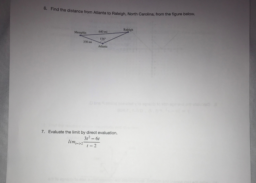 Solved 6 Find The Distance From Atilanta To Raleigh Nor