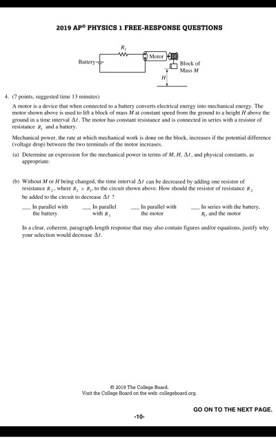 Solved: 2019 AP® PHYSICS 1 FREE-RESPONSE QUESTIONS Motor B