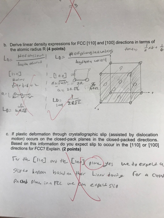 Solved: B  Derive Linear Density Expressions For FCC [110