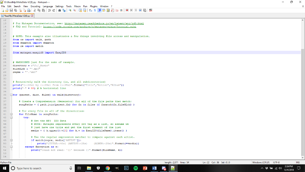Solved: This Assignment Is Using Python Coding And Mutagen