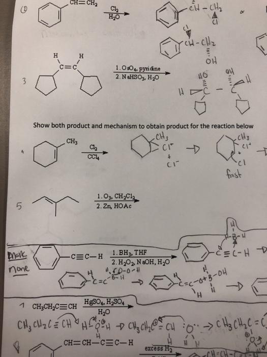 1.Os04, pyridine 40叫 Showboth produt and ne du CH CI·プ CH3 cl CI- cl fast 1 . 03, CHpCi 2. Zn, HOAc 5 2. H202 NaOH, H2O none H20 excess H 93