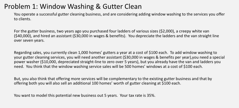 Solved: Problem 1: Window Washing & Gutter Clean You Opera