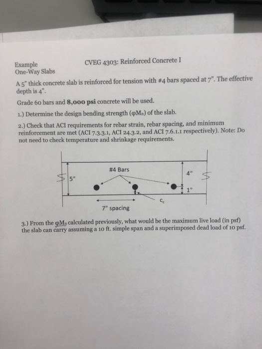 Solved: CVEG 4303: Reinforced Concrete I Example One-Way S
