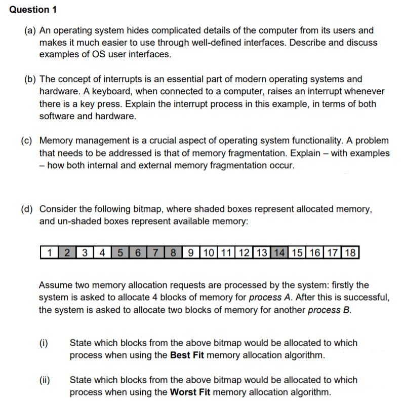 Solved: Operating Systems Question Answer Carefully And Co