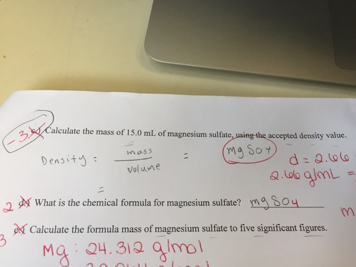 Solved Alculate The Mass Of 150 Ml Of Magnesium Sulfate