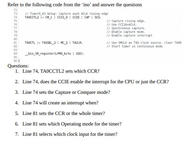 Solved: Refer To The Following Code From The 'ino' And Ans