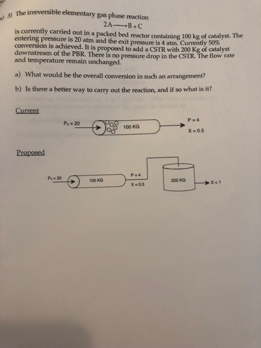 Solved The Irreversible Elementary Gas Phase Reaction 2a