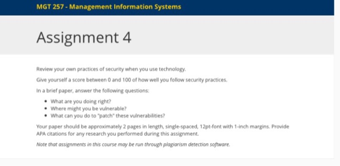Solved: MGT 257- Management Information Systems Assignment