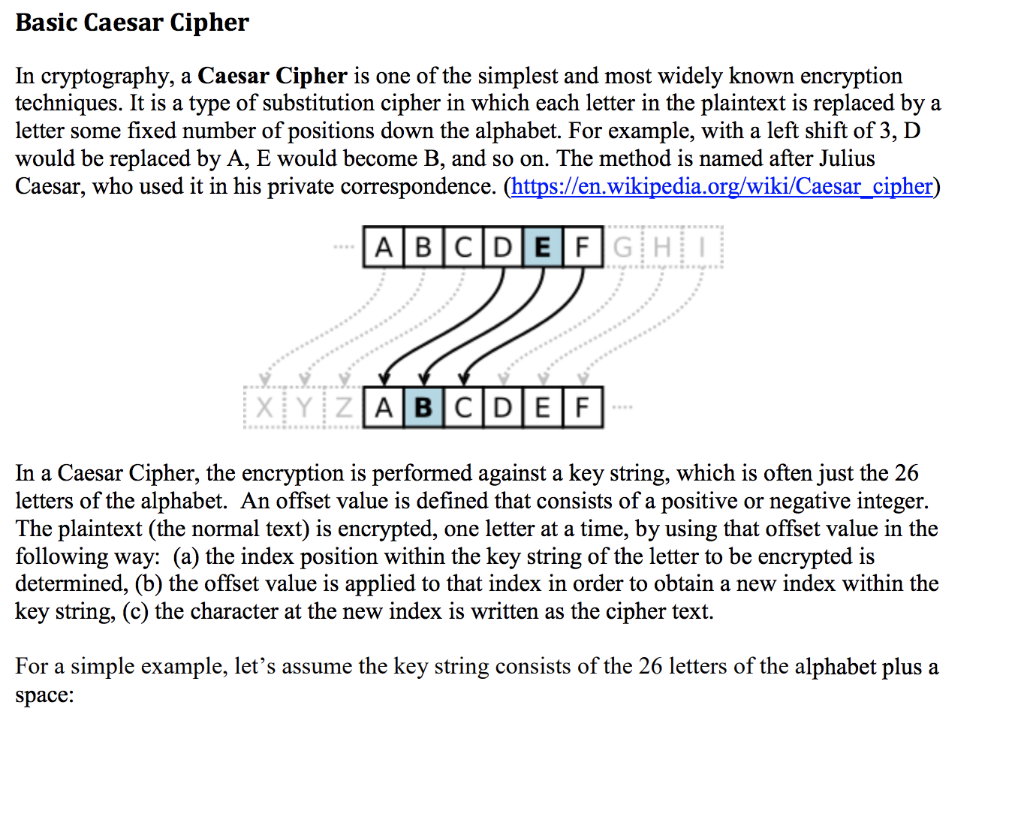 Solved: Basic Caesar Cipher In Cryptography, A Caesar Ciph