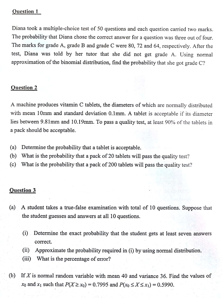 Solved: Question 1 Diana Took A Multiple-choice Test Of 50