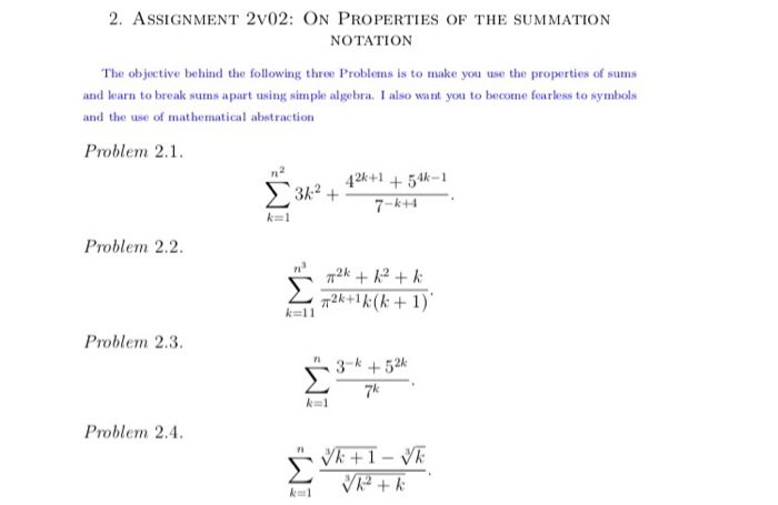 Solved 2 Assignment 2v02 On Properties Of The Summation