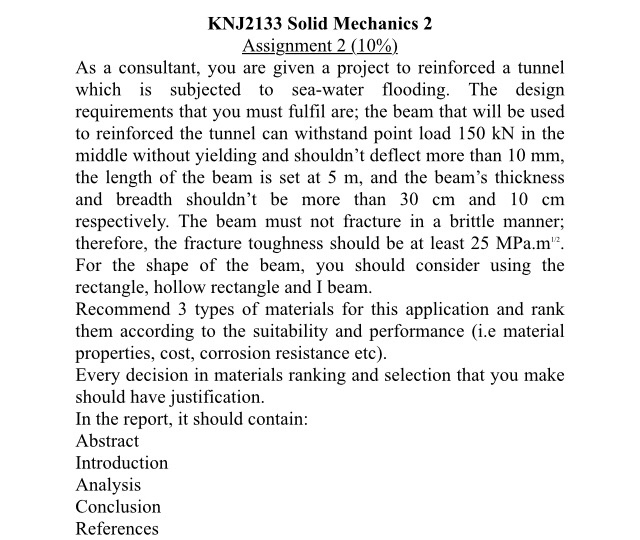 Solved: KNJ2133 Solid Mechanics 2 Assignment 2 (10%) As A