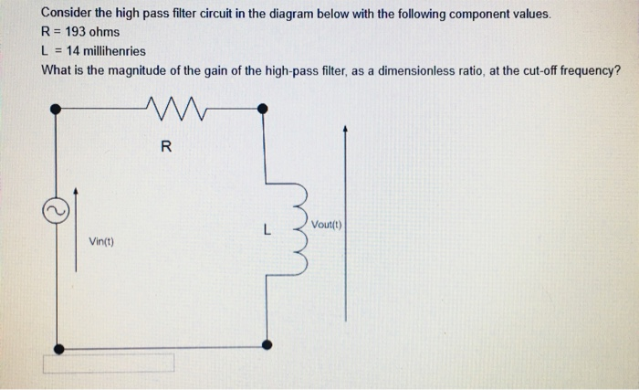 Solved Consider The High Pass Filter Circuit In The Diagr