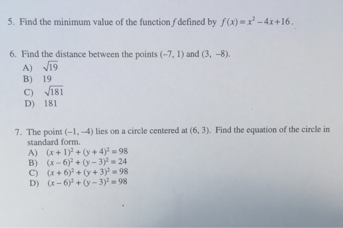 Solved 5 Find The Minimum Value Of The Function F Define