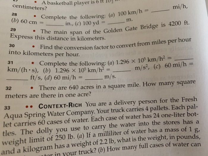 Centimeters A Basketball Player Is 6 T T0 Mi H 28 B
