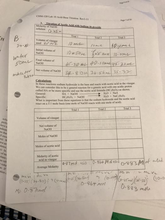 Solved: CHIM-120 Lab 10 Acid-Base Titration Revi-11 Molari ...
