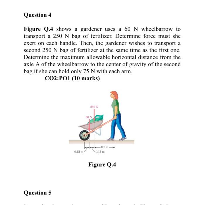 Solved: Figure Q.4 Shows A Gardener Uses A 60 N Wheelbarro ...
