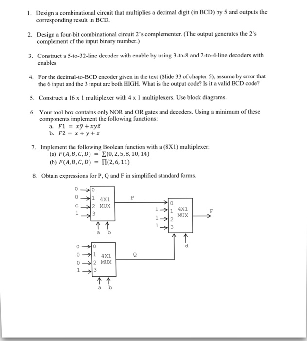 Solved Design A Combinational Circuit That Multiplies A D