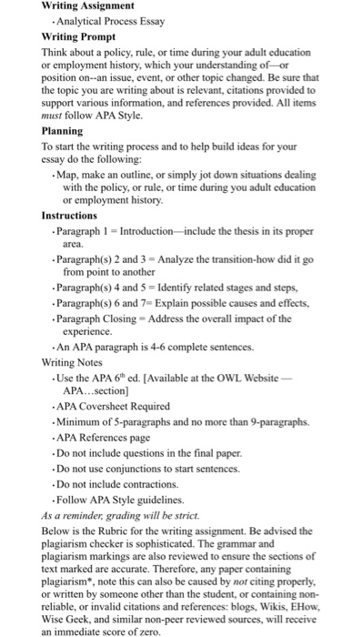 Solved Writing Assignment Analytical Process Essay Writin  Writing Assignment Analytical Process Essay Writing Prompt Think About A  Policy Rule Or Time High School Admission Essay Examples also   English Language Essay Topics