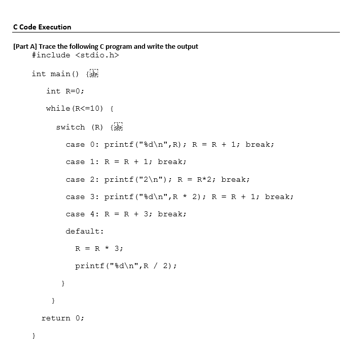 Solved: C Code Execution [Part Al Trace The Following C Pr
