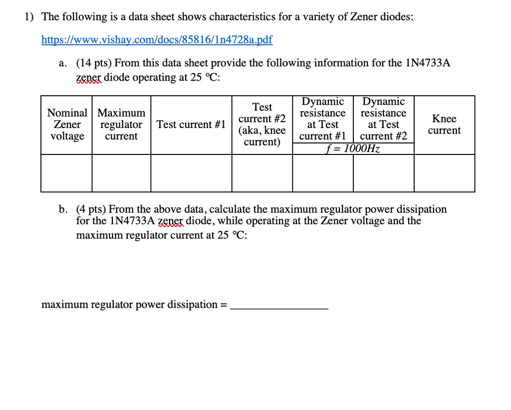1 The Following Is A Data Sheet Shows Characteris Zener Diode Voltage Tester Characteristics For Variety Of Diodes
