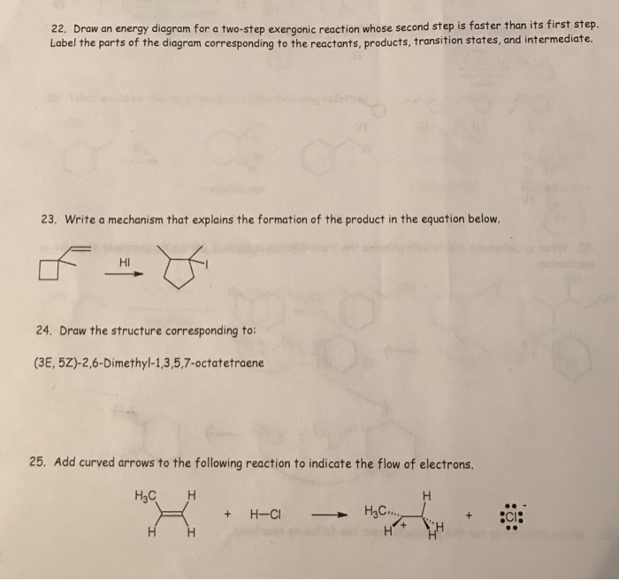 Label The Energy Diagram For A Two Step Reaction | Solved 22 Draw An Energy Diagram For A Two Step Exergoni