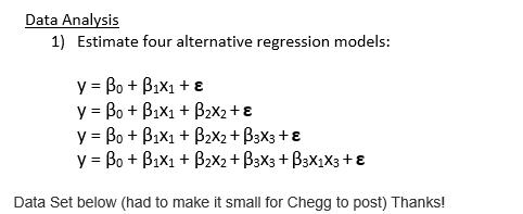 Data Analysis 1) Estimate Four Alternative Regress      Chegg com