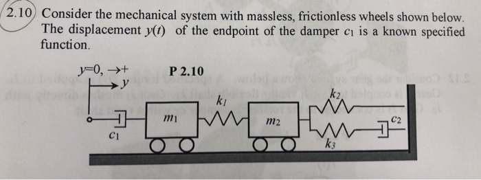 2.10 Consider the mechanical system with massless, frictionless wheels shown below. The displacement y() of the endpoint of the damper ci is a known specified function. y-o,-P 2.10 .V k2 ki C2 1m m2 C1 k3