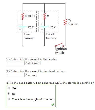solved jumper cables are connected from a fresh battery i0 01 starter 12 v 12 v live dead battery bat igniuon switch (a) determine