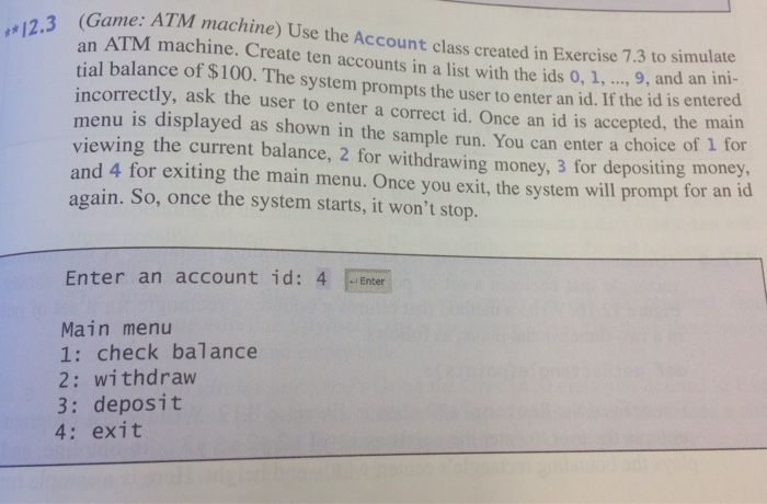 Solved: Game: ATM Machine) Use The Account Class Created I