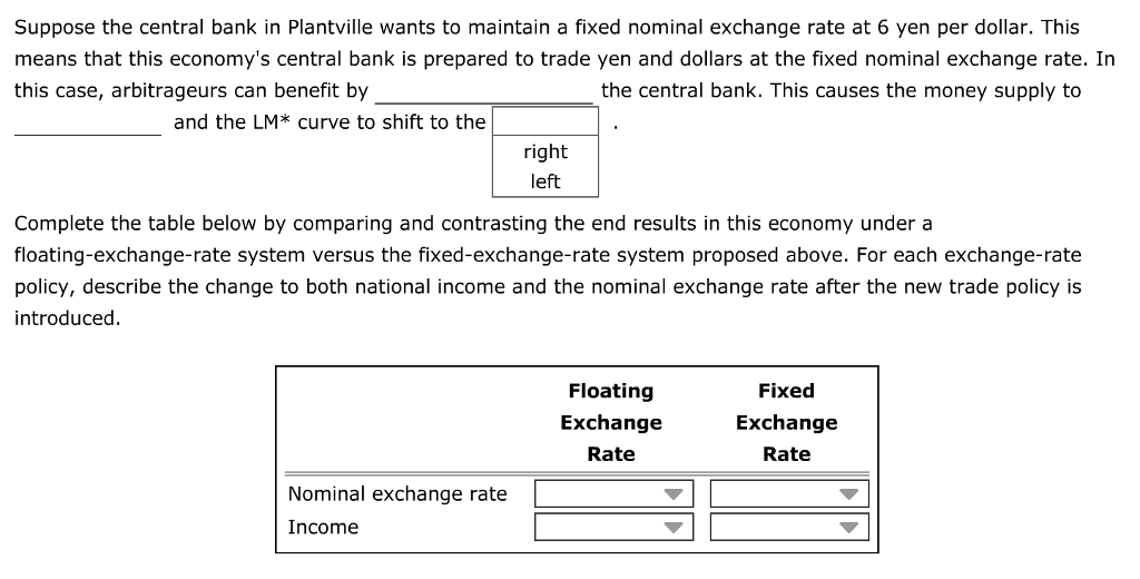 Suppose the central bank in Plantville wants to maintain a fixed nominal exchange rate at 6 yen per dollar. This means that this economys central bank is prepared to trade yen and dollars at the fixed nominal exchange rate. In this case, arbitrageurs can benefit by the central bank. This causes the money supply to and the LM* curve to shift to the right left Complete the table below by comparing and contrasting the end results in this economy under a floating-exchange-rate system versus the fixed-exchange-rate system proposed above. For each exchange-rate policy, describe the change to both national income and the nominal exchange rate after the new trade policy is introduced Floating Exchange Rate Fixed Exchange Rate Nominal exchange rate Income