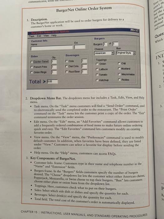 Item #2 Burger Net Online Order System Is A Softwa... | Chegg.com