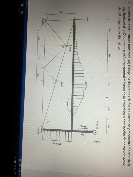 A partir de la estrucutura mostrada, (a) Dibuje los diagramas de fuerza cortante y momento flector de la viga horizontal (b) Determine el esfuerzo normal máximo en la armadura si está hecha de barras de acero de 1.0 pulgadas de diámetro. 1. 4 m 1 m 700 N 300 N/m 8 300 N 50kg/m 400 N 3 m