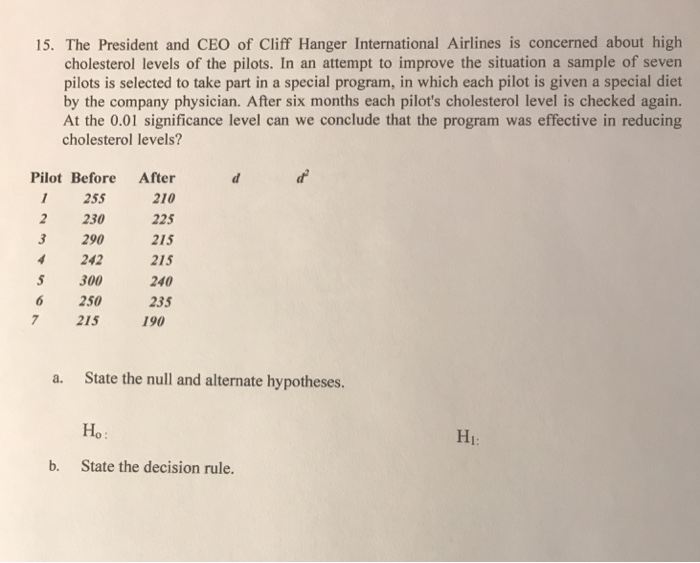 Solved: 15  The President And CEO Of Cliff Hanger Internat