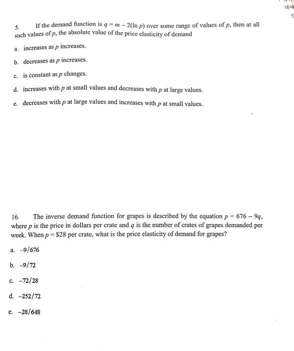 Solved Chapter 15 Market Demand 1 The Inverse Demand Cu