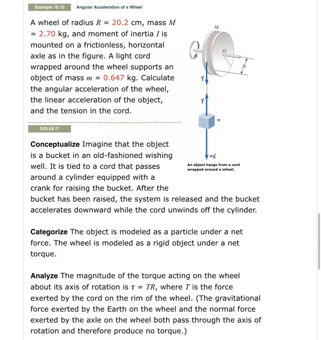 Solved: Example 10 10 Angular Acceleration Of A Wheel A Wh