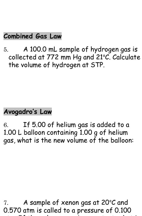 Solved: Combined Gas Law 5  A 100 0 ML Sample Of Hydrogen