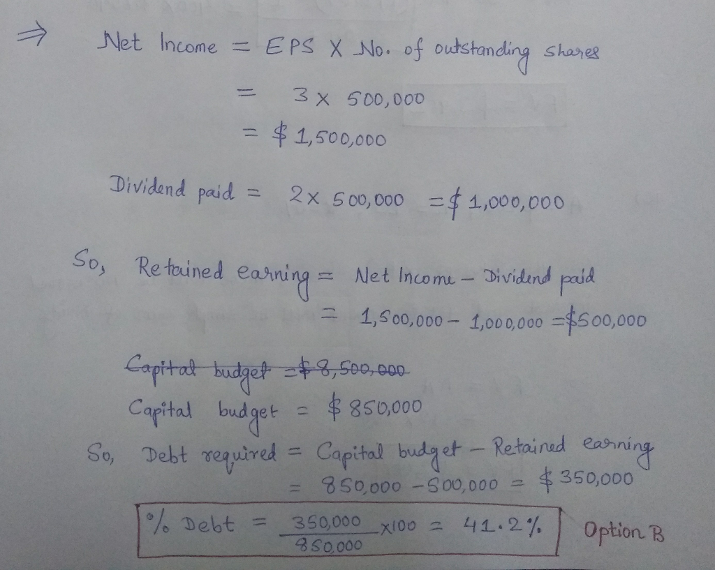 → Net Income = EPS X-No. of uncollected shares = 3 x 500,000 =串1,500,000 Dividend remunerated = 2x 500,000す1,000,000 So, Re touned e