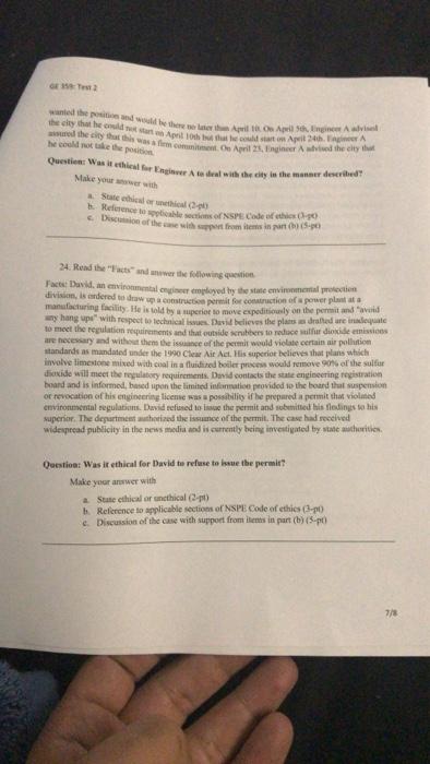 GE 359: Test 2 Part Il: Short Essay (10-pt Cach) P