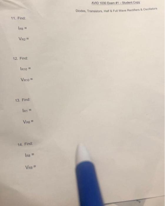 AVIO 1030 Exam #1-Student Copy Diodes, Transistors    | Chegg com