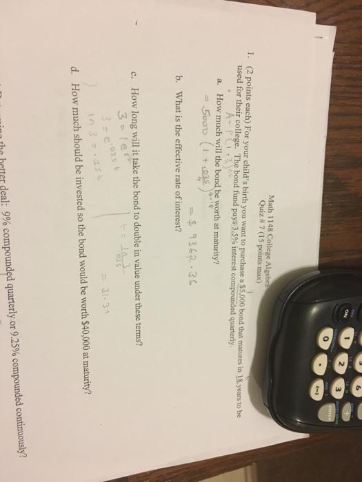 Solved: 3 Math 1148 College Algebr Quiz # 7 (15 Points Max