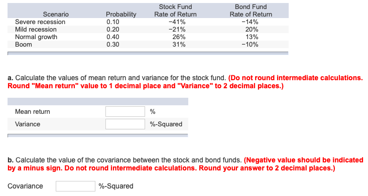 Solved Stock Fund Rate Of Return 41 21 25 31 Bond F