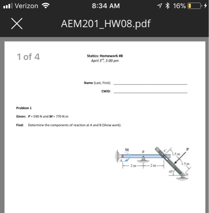 Solved: Verizon 8:34 AM × AEM201-HW08 pdf 1 Of 4 Statics
