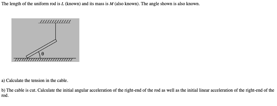 82f7397f3 Question: The length of the uniform rod is L (known) and its mass is M (also  known). The angle shown is als.