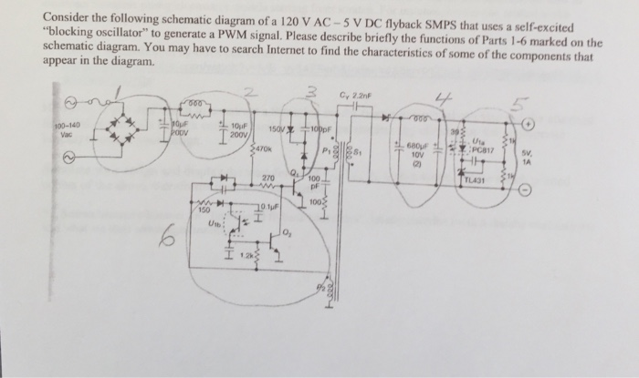 The Following Schematic Diagram Of A 120 V Ac 5 V Cheggcom