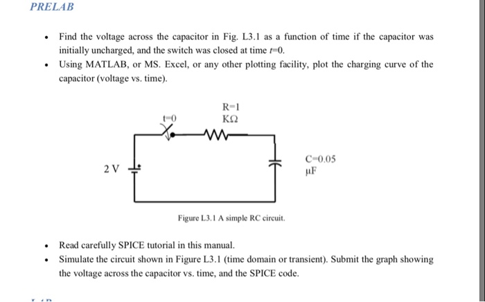 Solved: PRELAB Find The Voltage Across The Capacitor In Fi