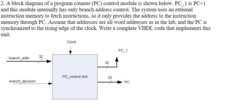2. a block diagram of a program counter (pc) contr... | chegg.com  chegg