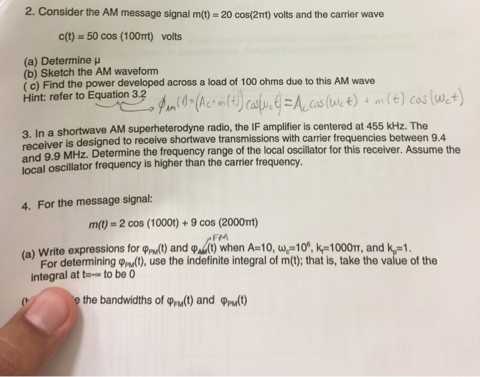 Solved: 2  Consider The AM Message Signal M(t) = 20 Cos(2m