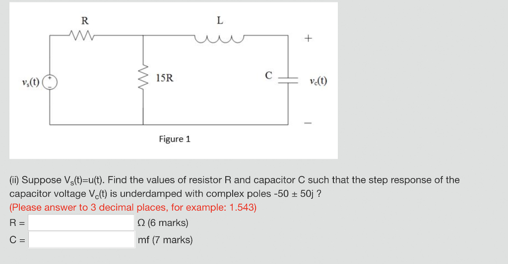 15R Figure 1 i) Suppose Vs(t)-u(t). Find the values of resistor R and capacitor C such that the step response of the capacitor voltage Vc(t) is underdamped with complex poles -50 + 50j? Please answer to 3 decimal places, for example: 1.543) 0(6 marks) mf (7 marks)